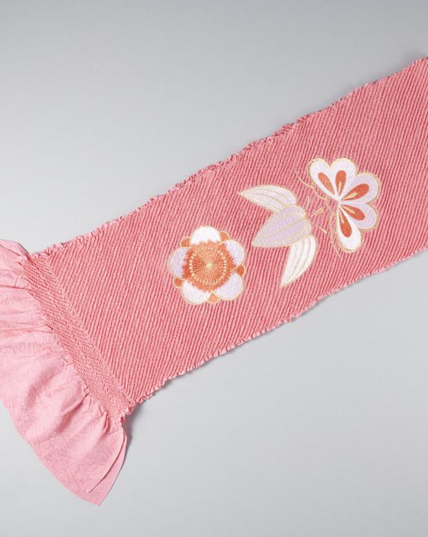 ラブリス帯揚げ(ピンク)絞り・刺繍