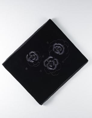 ラブリス帯揚げ(黒)ベルベット