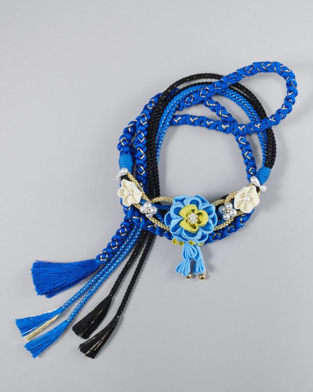 ラブリス帯締め(青)花