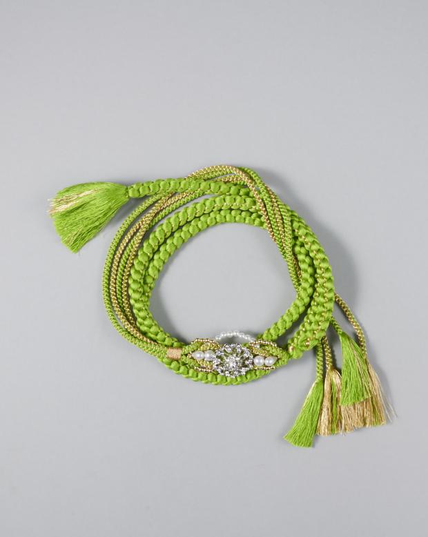 ラブリス帯締め(黄緑)パール