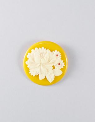 ラブリス帯留め(黄色X白)芍薬