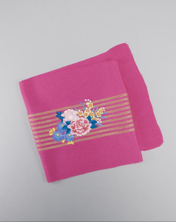 ラブリス帯揚げ(ピンク)花柄