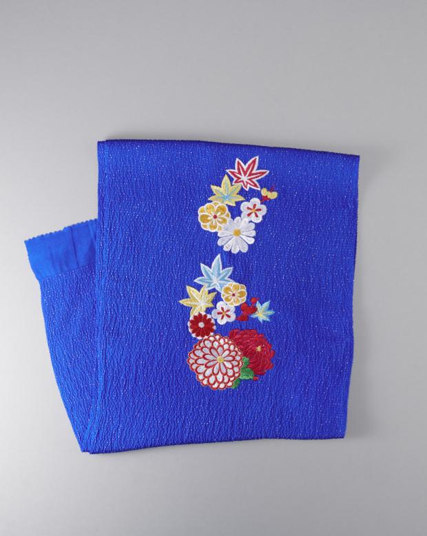 ラブリス帯揚げ(青)まり菊刺繍