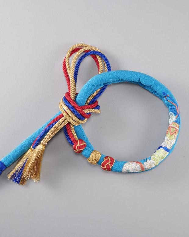 ラブリス帯締め(ブルー)まり刺繍