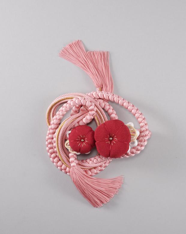 ラブリス帯締め(ピンクX赤)大花