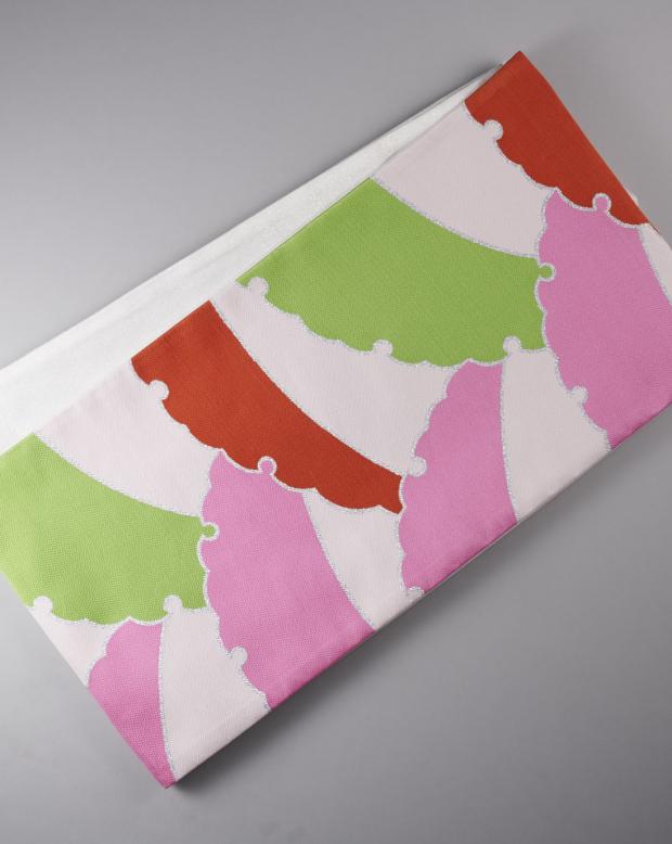 ラブリス袋帯(白XピンクX赤X緑)アート柄