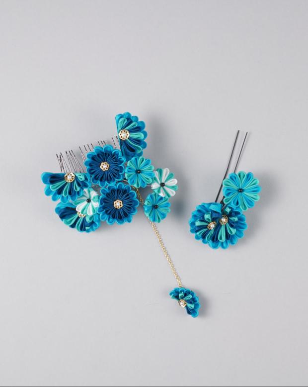 ラブリス髪飾り(青)花・つまみ