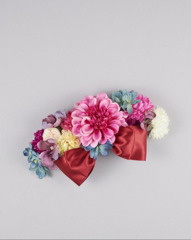 ラブリス髪飾り(赤X黄X水色)花・リボン