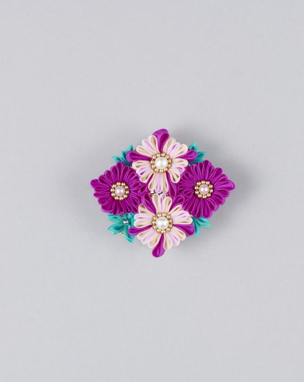 ラブリス帯留め(紫Xピンク)小花