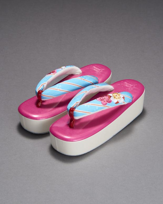ラブリス草履(ピンクX水色)花飾り
