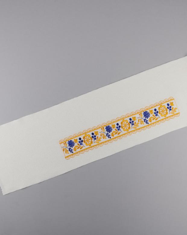 ラブリス半衿(白X黄X青)花・刺繍