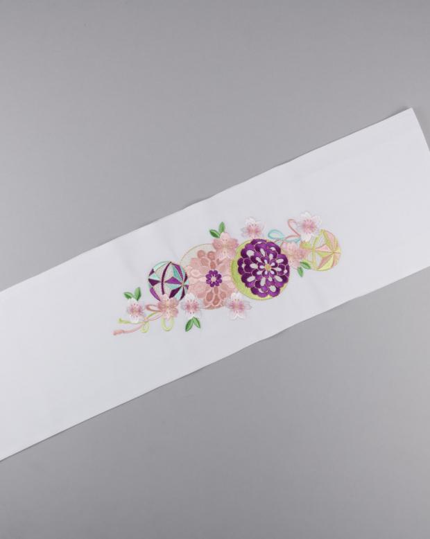 ラブリス半衿(白)まり刺繍