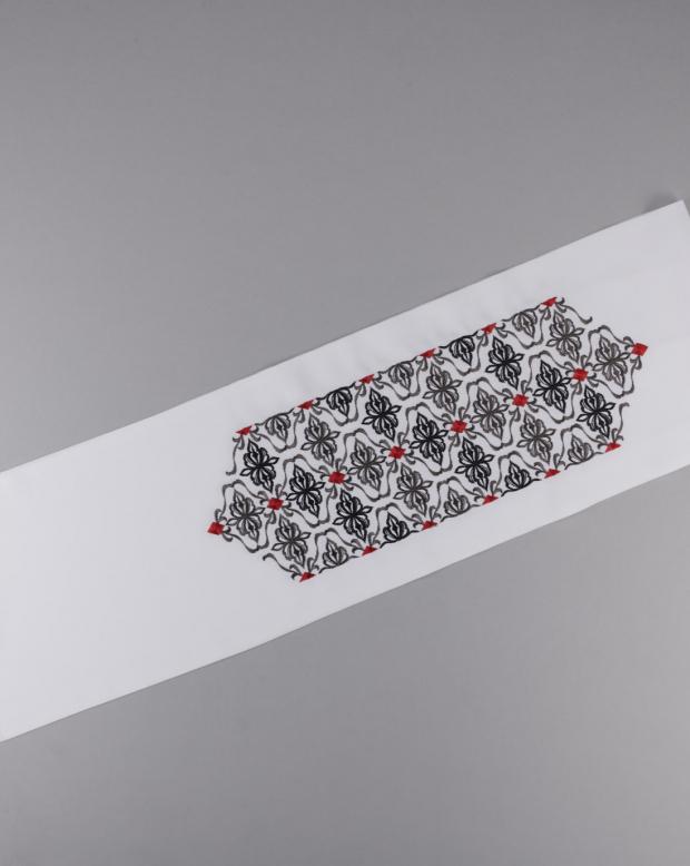 ラブリス半衿(白X黒X赤)刺繍