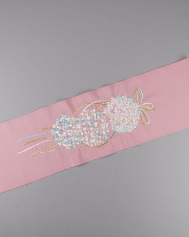 ラブリス半衿(ピンク)花くす玉刺繍