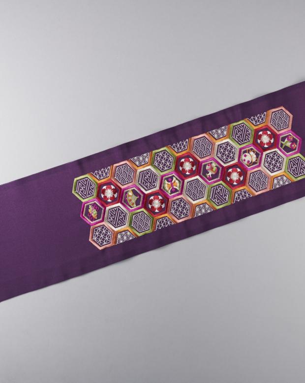 ラブリス半衿(紫)亀甲