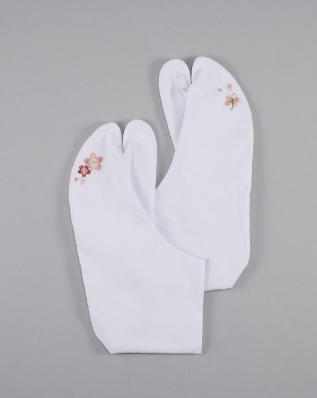 ラブリス足袋(白)桜・刺繍