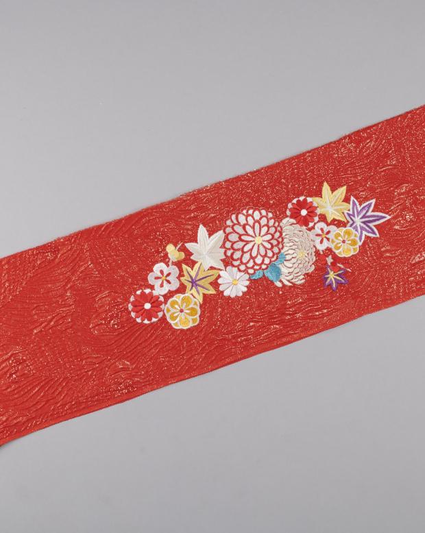 ラブリス半衿(赤X白)まり菊・刺繍